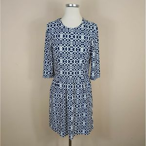 Jude Connally Brynn Dress Fit Flare Navy Geometric